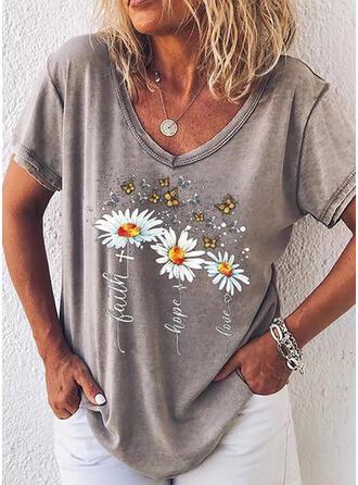 Dier Afdrukken Figuur Bloemen V-hals Korte Mouwen T-shirts