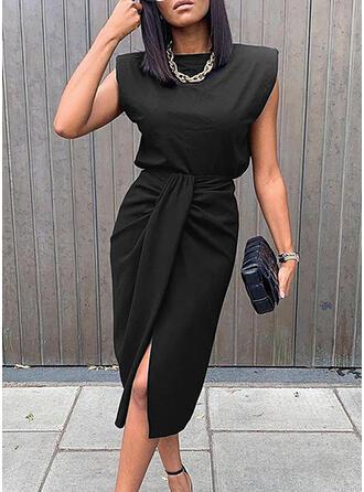 Solide Mouwloos Koker Knielengte Zwart jurkje/Elegant Jurken