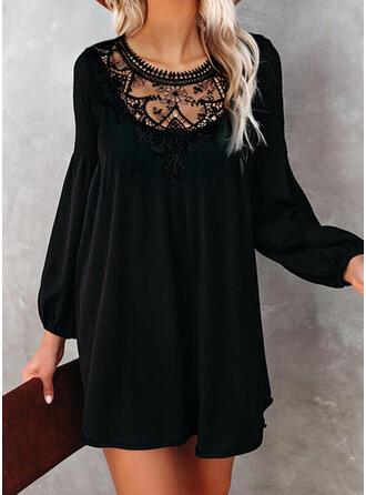 Kant/Solide Lange Mouwen/Lantaarn Mouw Shift Boven de knie Zwart jurkje/Elegant Tunieken Jurken