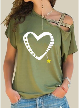 Print Pailletten Hart One-shoulder Korte Mouwen Casual Overhemd