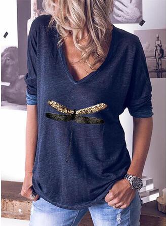 Dier Afdrukken V-hals Lange Mouwen T-shirts