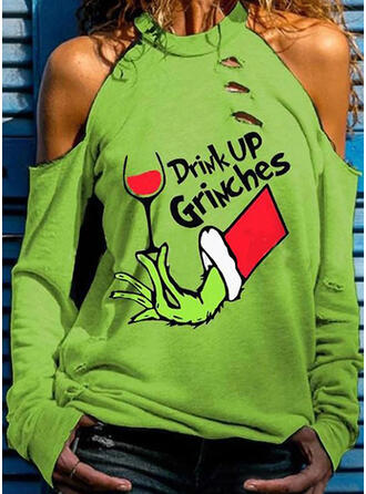 Print Figuur Cold Shoulder Lange Mouwen Casual Polka Prik Kerstmis Overhemd