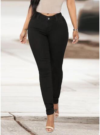Solide Zakken Grote maat Lang Elegant Sexy Spijkerbroek