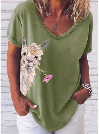 Dier Afdrukken Bloemen V-hals Korte Mouwen T-shirts