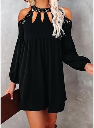 Pailletten/Solide Lange Mouwen/Lantaarn Mouw Shift Boven de knie Zwart jurkje/Elegant Tunieken Jurken