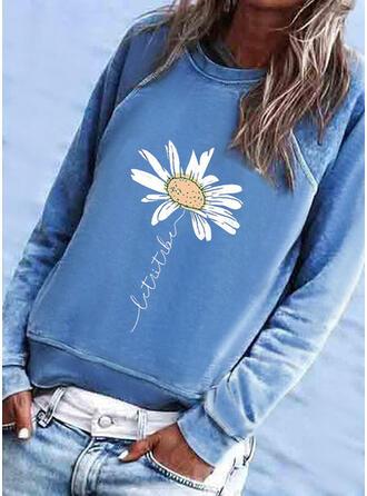 Print Bloemen Figuur Ronde nek Lange Mouwen Sweatshirts
