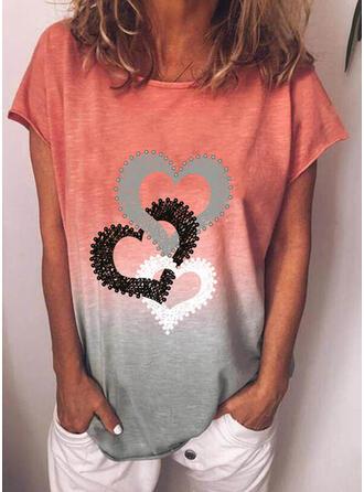 Verloop Hart Print Ronde Hals Korte Mouwen T-shirts