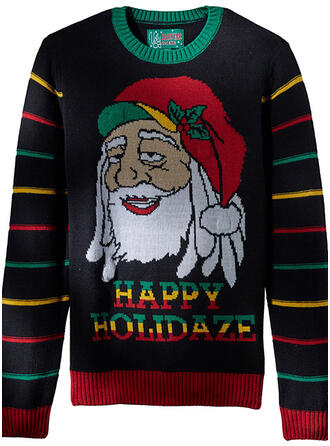 Uniseks Polyester Streep De Kerstman Letter Lelijke kerstsweater