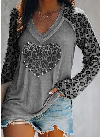 luipaard Met Kralen V-hals Lange Mouwen Casual T-shirts