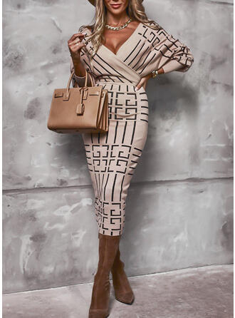 Print Lange Mouwen Bodycon Potlood Elegant Medium Jurken
