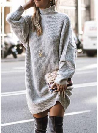 Solide Grof gebreid Coltrui Casual Lang Sweaterjurk