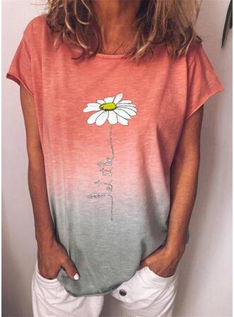 Figuur Bloemen Verloop Print Ronde Hals Korte Mouwen T-shirts