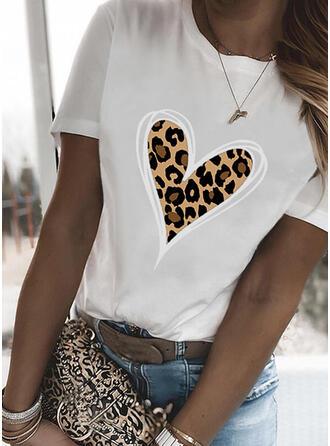 luipaard Hart Print Ronde Hals Korte Mouwen T-shirts