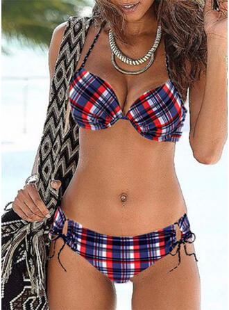 Plaid push up Halter Sexy Vintage Bikini's Badpakken