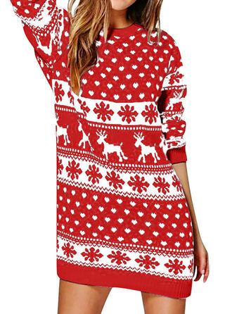 Dierenprint Ronde Hals Casual Lang Kerstmis Sweaterjurk