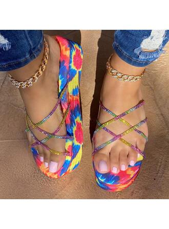 Vrouwen PU Wedge Heel Sandalen Plateau Wedges Peep Toe Slippers met Hol-out Las kleur schoenen