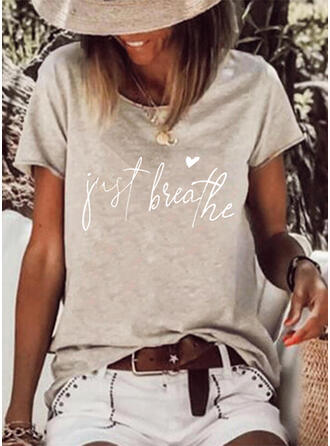 Hart Print Letter Ronde Hals Korte Mouwen T-shirts