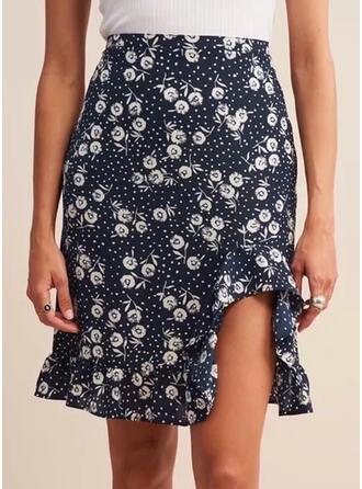 Polyester Print Bloemen boven de knie Potlood Rokken