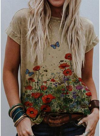 Dier Afdrukken Bloemen Ronde Hals Korte Mouwen T-shirts