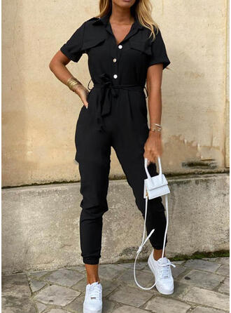 Shirred strik Lang Casual Sexy Gewoon Jumpsuits & rompertjes
