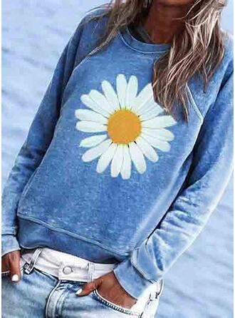 Bloemen Print Ronde Hals Lange Mouwen T-shirts