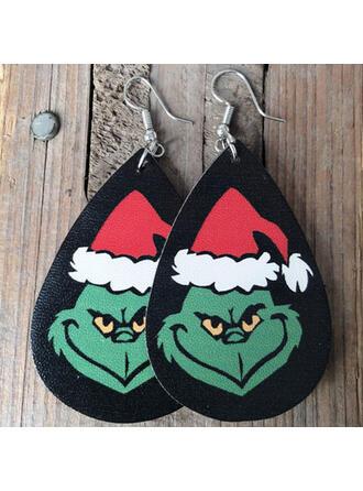 Druppelvorm Kerstmis Grinch PU Vrouwen Oorbellen 2 STUKS