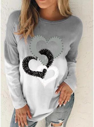 Verloop Hart Print Ronde Hals Lange Mouwen T-shirts