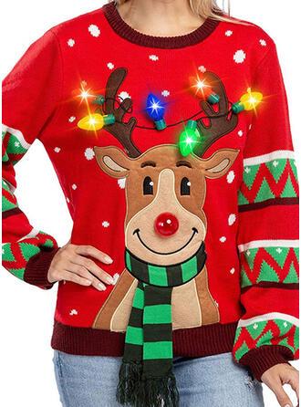 Dames Polyester Print Hert Lelijke kerstsweater