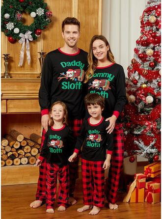 Plaid Letter Spotprent Voor Gezinnen Kerst Pyjamas