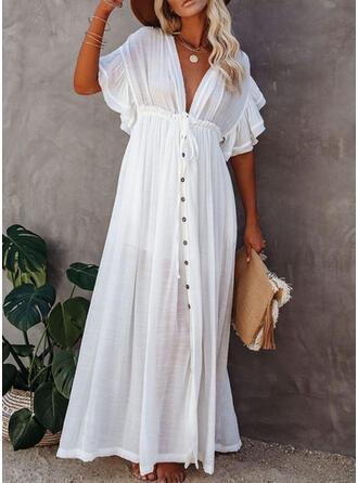 Effen kleur V-hals Elegant Badjassen Badpakken