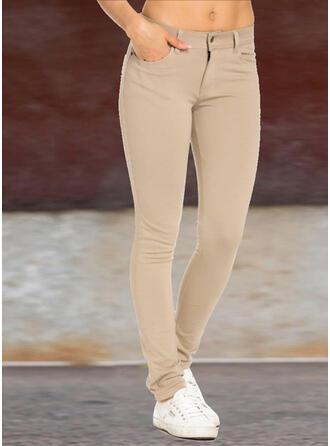 Solide Shirred Grote maat Lang Elegant Sexy Gewoon Broeken