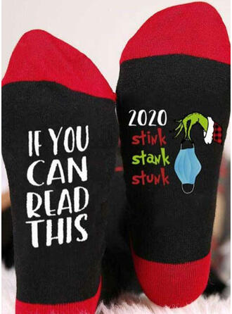 Letter/Print/Grinch Ademend/Kerstmis/Crew sokken/2020 Sokken