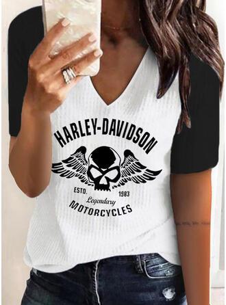 Color Block Figuur Print V-hals Korte Mouwen T-shirts