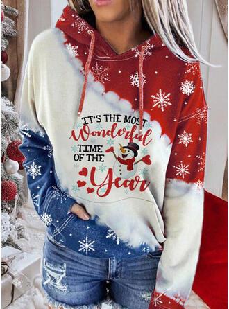 Print Color Block Figuur Lange Mouwen Kerst Sweatshirt