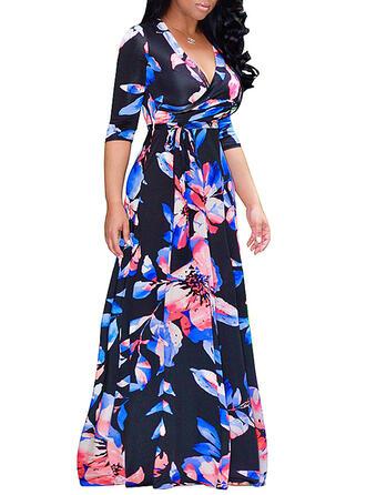 Grote maten Bloemen Print 1/2 Mouwen A-lijn-jurk Maximum Casual Elegant Jurk