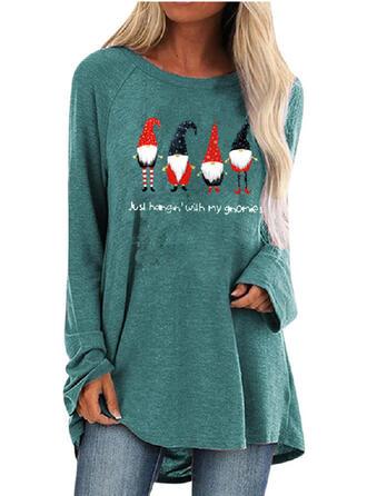 Print Figuur Ronde nek Lange Mouwen Kerst Sweatshirt