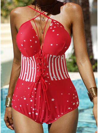 Streep Ster Print Riem Geweldig Prachtige Novelty Luxe Badpakken Badpakken