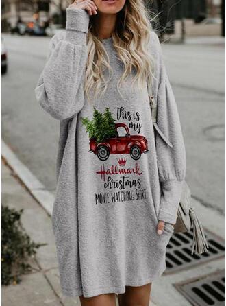 Print Lange Mouwen Shift Boven de knie Kerstmis/Casual Sweatshirts Jurken