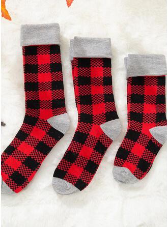 Plaid Comfortabel/Kerstmis/Crew sokken/Voor Gezinnen/Unisex Sokken