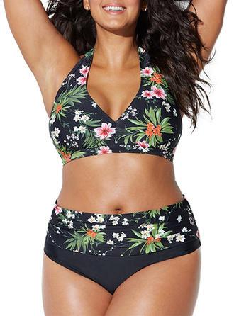 Bloemen Hoge Taille Tropische afdruk Halter Mooi Grote maat Bikini's Badpakken