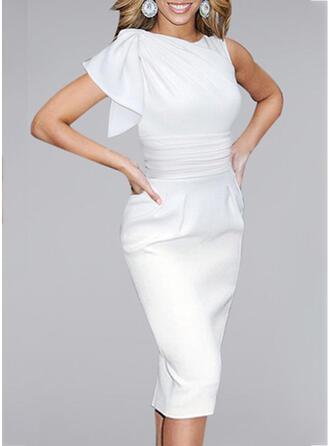 Solide Korte Mouwen Bodycon Potlood Zwart jurkje/Feest/Elegant Medium Jurken