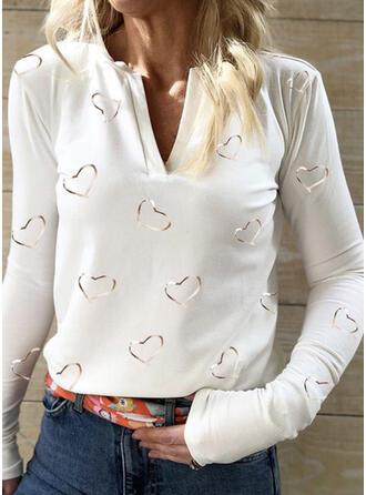 Print Hart V-hals Lange Mouwen Casual Overhemd