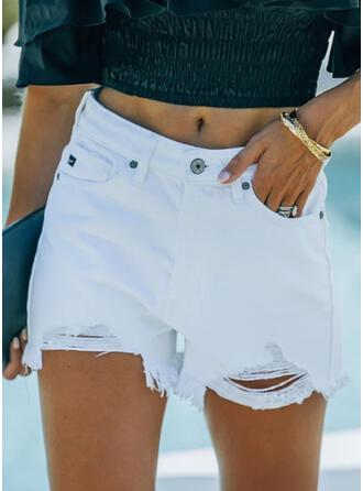 Solide Zakken Grote maat Gescheurd Sexy Solide Shorts Spijkerbroek