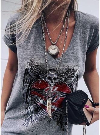Print Figuur Hart V-hals Korte Mouwen Casual T-shirts