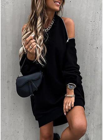 Solide Lange Mouwen/Cold Shoulder Mouw Shift Boven de knie Zwart jurkje/Sexy/Feest Sweatshirts Jurken