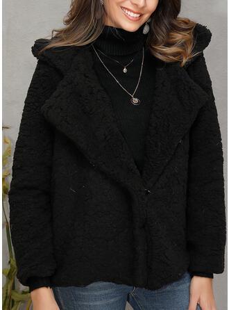Faux Fur Lange Mouwen Effen kleur Faux Fur Jassen
