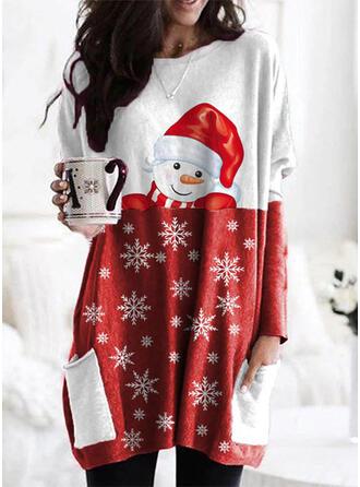 Print Color Block Zakken Ronde nek Lange Mouwen Kerst Sweatshirt