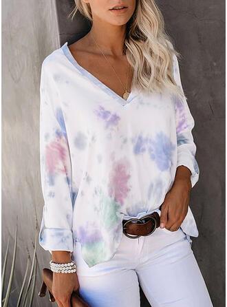 Tie Dye V-hals Lange Mouwen T-shirts