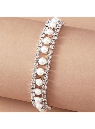 Schijnt Legering Steentjes met Steentjes Imitatie Parel Vrouwen Dames Armbanden