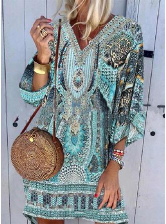 Splice kleur Tropische afdruk V-hals Aantrekkelijk Grote maat Casual Boho Badjassen Badpakken